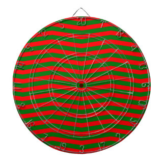 Christmas Red and Green Chevron Zig Zag Stripes Dartboard