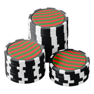 Christmas Red and Green Chevron Zig Zag Stripes Poker Chips