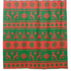 Christmas Red and Green Deer and Trees Pattern Shower Curtain