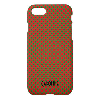 Christmas Red and Green Gingham Pattern Custom iPhone 8/7 Case