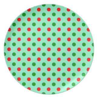Christmas Red and Green Polka Dots Dinner Plates