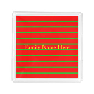 Christmas Red and Green Stripes, Personalize Acrylic Tray