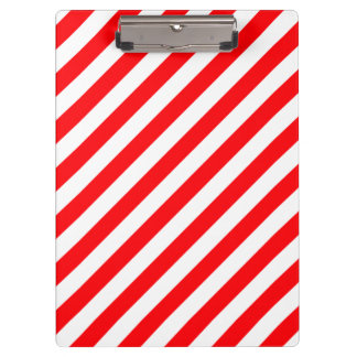 Christmas Red and White Candy Cane Stripes Clipboard
