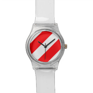 Christmas Red and White Candy Cane Stripes Watch