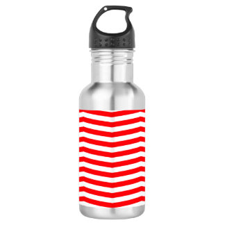 Christmas Red and White Chevron Stripes 532 Ml Water Bottle