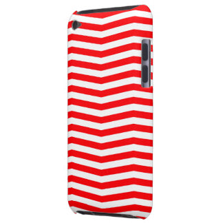 Christmas Red and White Chevron Stripes Barely There iPod Covers