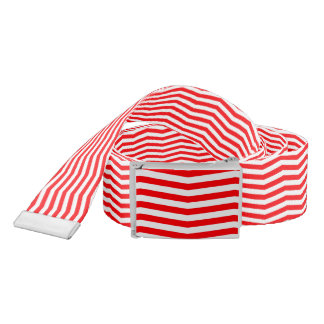 Christmas Red and White Chevron Stripes Belt