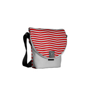 Christmas Red and White Chevron Stripes Messenger Bag