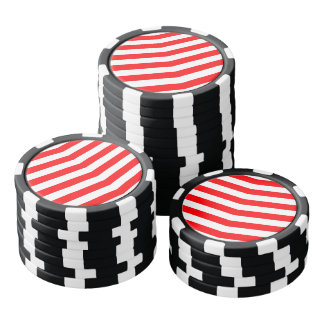 Christmas Red and White Chevron Stripes Poker Chips