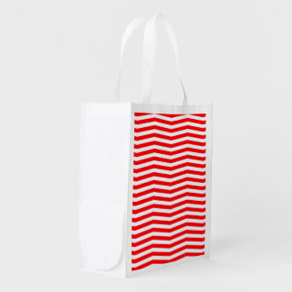 Christmas Red and White Chevron Stripes Reusable Grocery Bag
