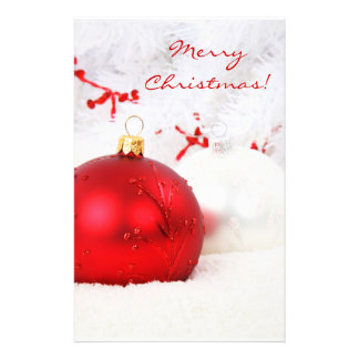 Christmas Red And White Merry Christmas Customised Stationery