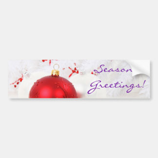 Christmas Red And White Seaon's Greetings III Bumper Sticker