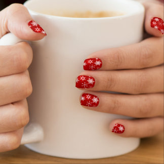 Christmas red and white snowflake design minx nail art