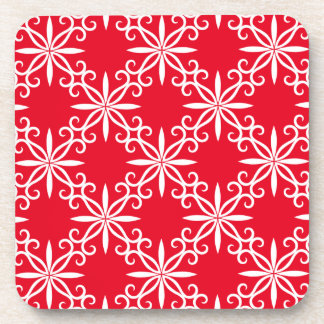 Christmas red and white swirl design drink coaster