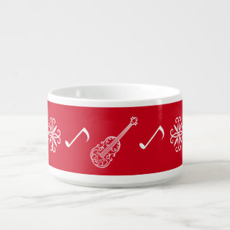 Christmas red and white violin with music notes chili bowl