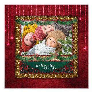 Christmas Red Ball Lights Gold Glitter Photo Card