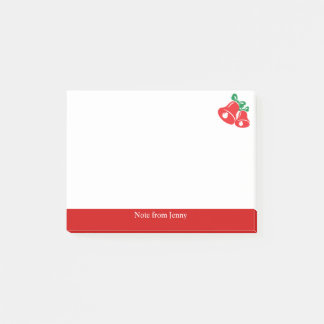 Christmas Red Bell Green Ribbon Custom Text Joyful Post-it Notes