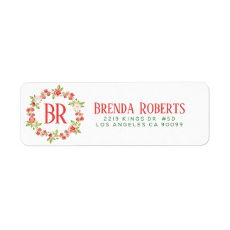 Christmas Red Berries & Flowers Wreath Monogram Return Address Label