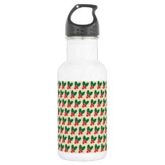 Christmas Red Berries Green Leaves Pattern 532 Ml Water Bottle