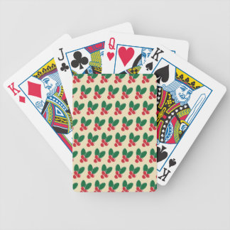 Christmas Red Berries Green Leaves Pattern Bicycle Playing Cards