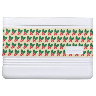 Christmas Red Berries Green Leaves Pattern Cooler