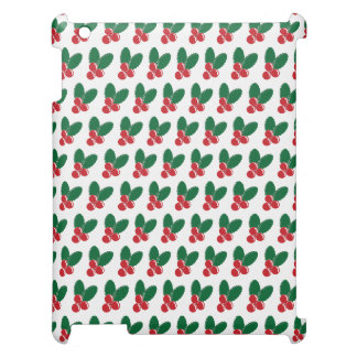 Christmas Red Berries Green Leaves Pattern iPad Case