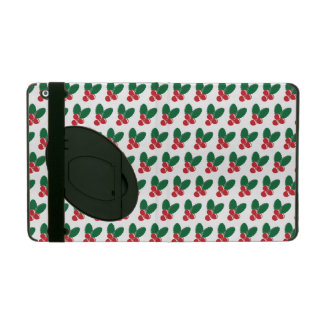 Christmas Red Berries Green Leaves Pattern iPad Cover