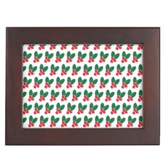 Christmas Red Berries Green Leaves Pattern Keepsake Box