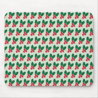 Christmas Red Berries Green Leaves Pattern Mouse Pad