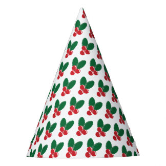 Christmas Red Berries Green Leaves Pattern Party Hat