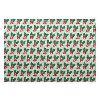 Christmas Red Berries Green Leaves Pattern Placemat