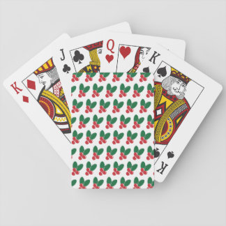 Christmas Red Berries Green Leaves Pattern Playing Cards