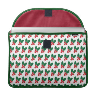 Christmas Red Berries Green Leaves Pattern Sleeve For MacBooks