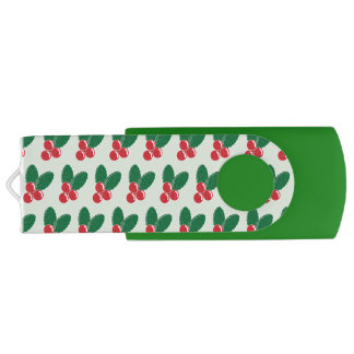 Christmas Red Berries Green Leaves Pattern USB Flash Drive