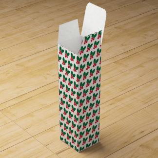 Christmas Red Berries Green Leaves Pattern Wine Box