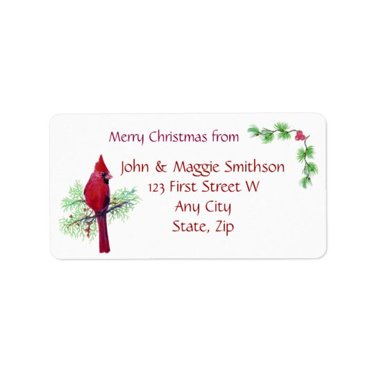 Christmas Red Bird Cardinal Address Customise Address Label