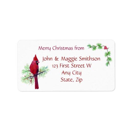 Christmas Red Bird Cardinal Address Customise Label