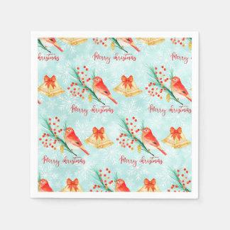Christmas red birds disposable serviette