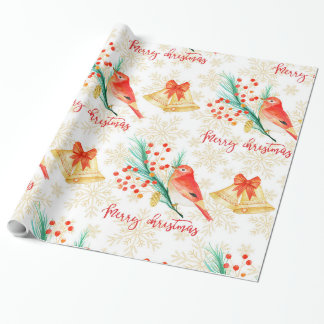 Christmas red birds wrapping paper