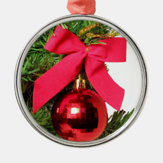 Christmas red bow and ornament