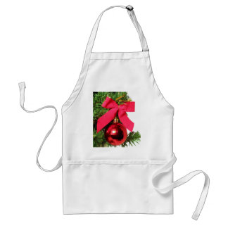 Christmas red bow and ornament apron