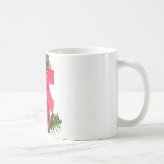 Christmas red bow and ornament basic white mug
