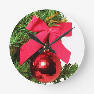 Christmas red bow and ornament wall clocks