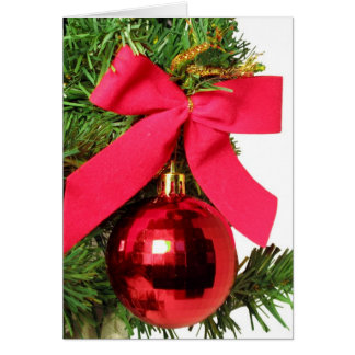 Christmas red bow and ornament greeting card