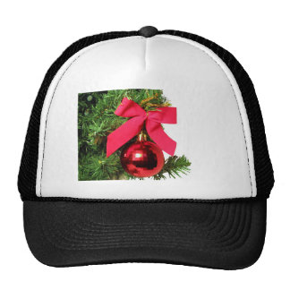Christmas red bow and ornament trucker hat