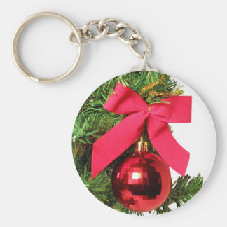 Christmas red bow and ornament key chain