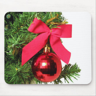 Christmas red bow and ornament mouse pad