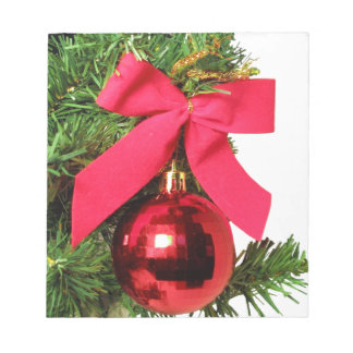 Christmas red bow and ornament notepad