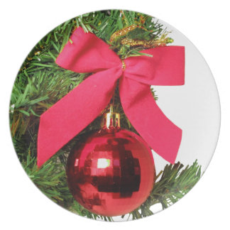 Christmas red bow and ornament plate
