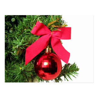 Christmas red bow and ornament postcard